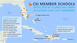 Map of CSI Member Schools Affected by Hurricane Irma