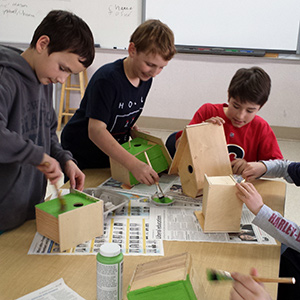 Medicine Hat Christian School students making bird houses