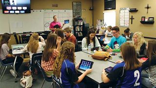 Valley Christian High School Class with iPads